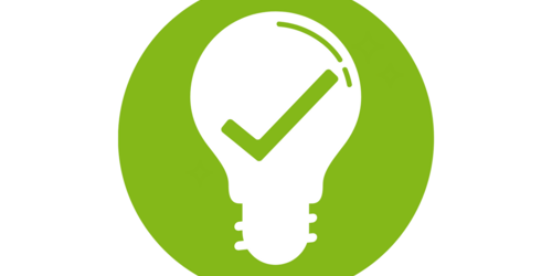 A white light bulb in which there is a green tick, backed by a green circle (icon, pictogram)