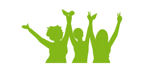 three green silhouettes of women holding each other and throwing their arms in the air for joy (icon, pictogram)