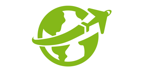 A globe with an aircraft flying over it (icon, pictogram)