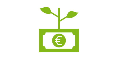 a green euro banknote from which a plant grows (icon, pictogram)