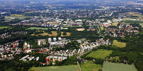The picture shows the Campus of TU Dortmund University from above.